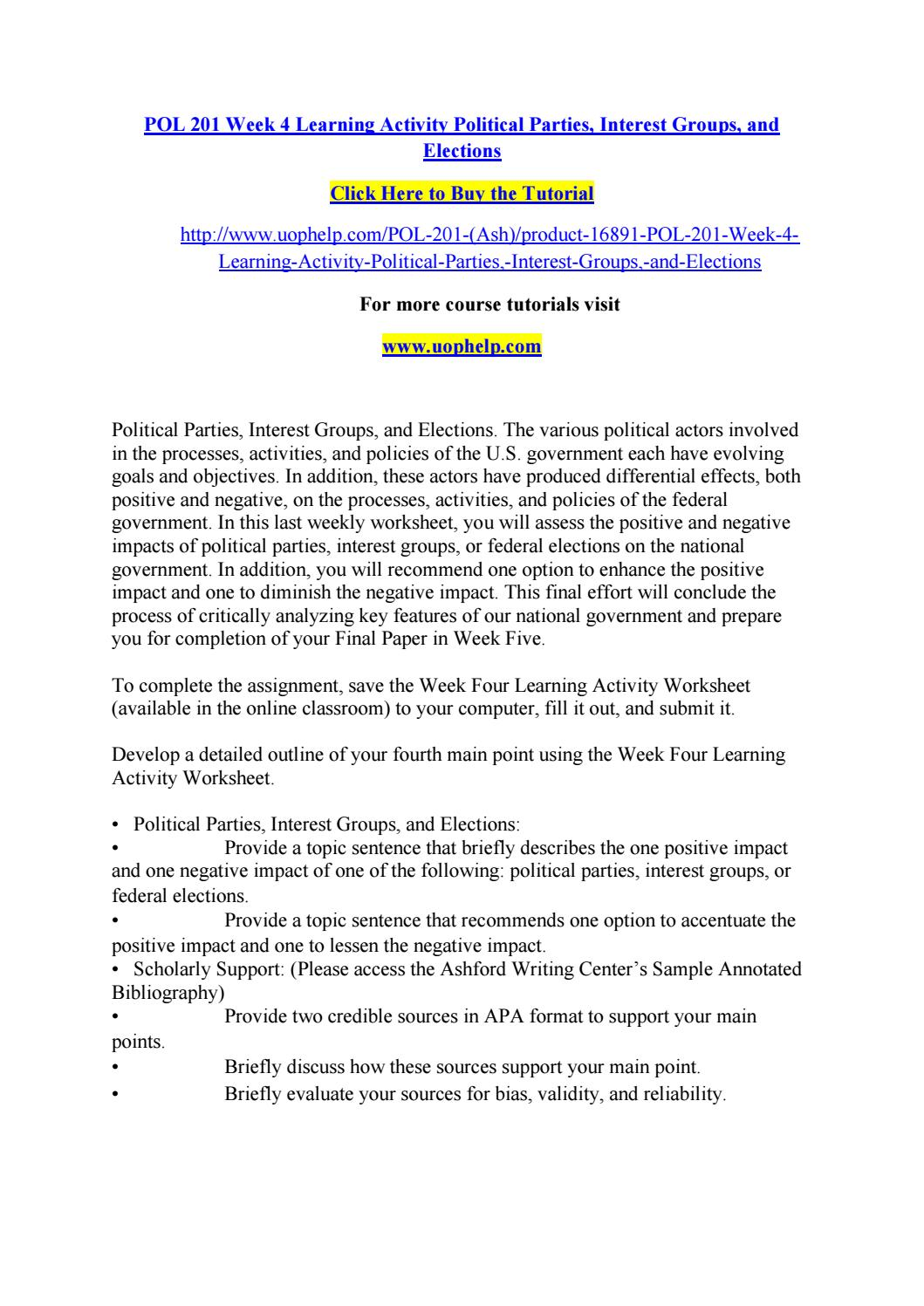 worksheet Political Parties Worksheet pol 201 week 4 learning activity political parties interest groups and elections by olymopicgam esrioaugus t 20 1 6 issuu
