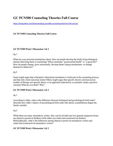 counseling theory paper