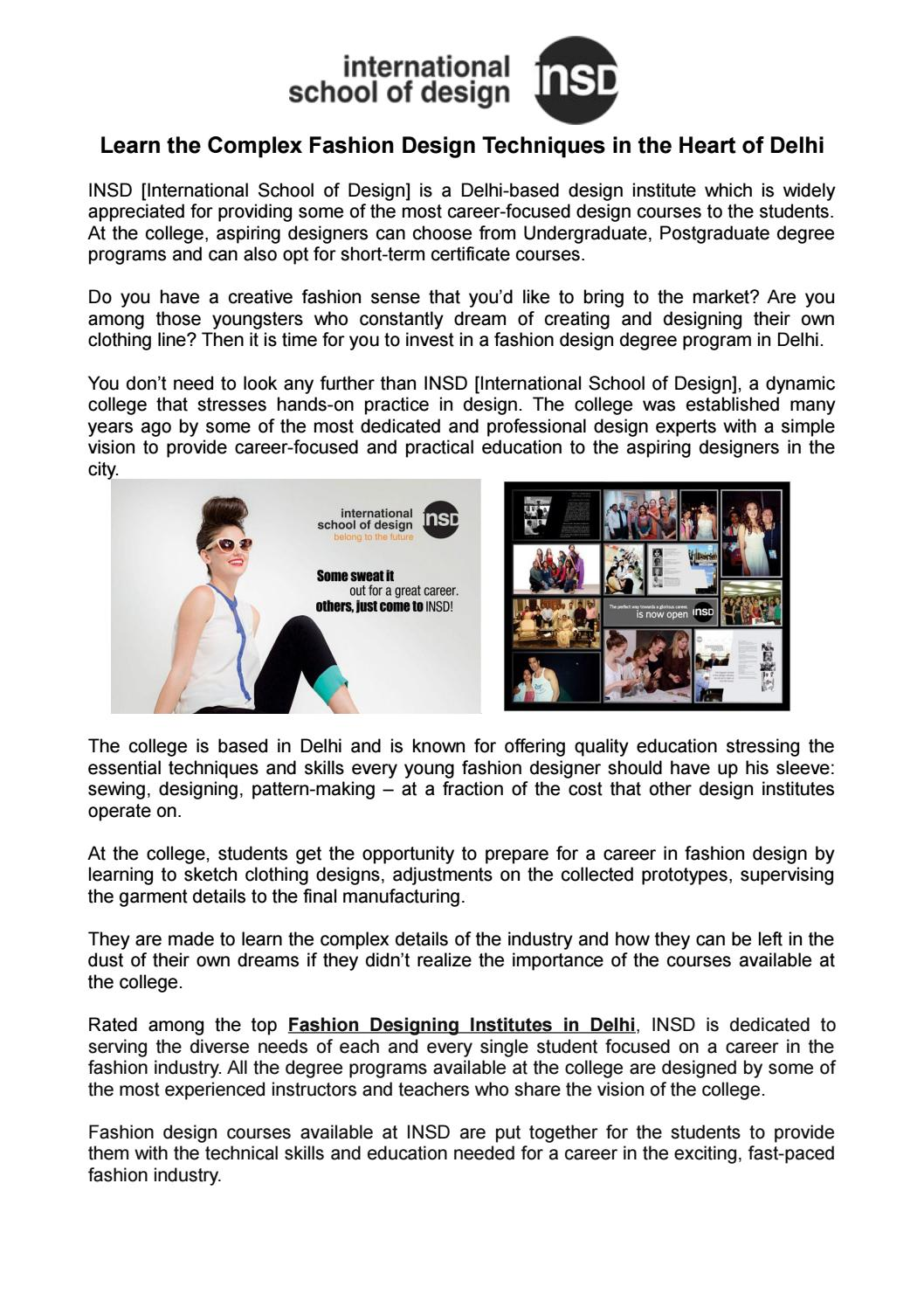 Learn The Complex Fashion Design Techniques In The Heart Of Delhi By Insd Paschim Vihar Issuu