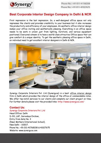 best corporate interior design company in delhi by synergy corporate
