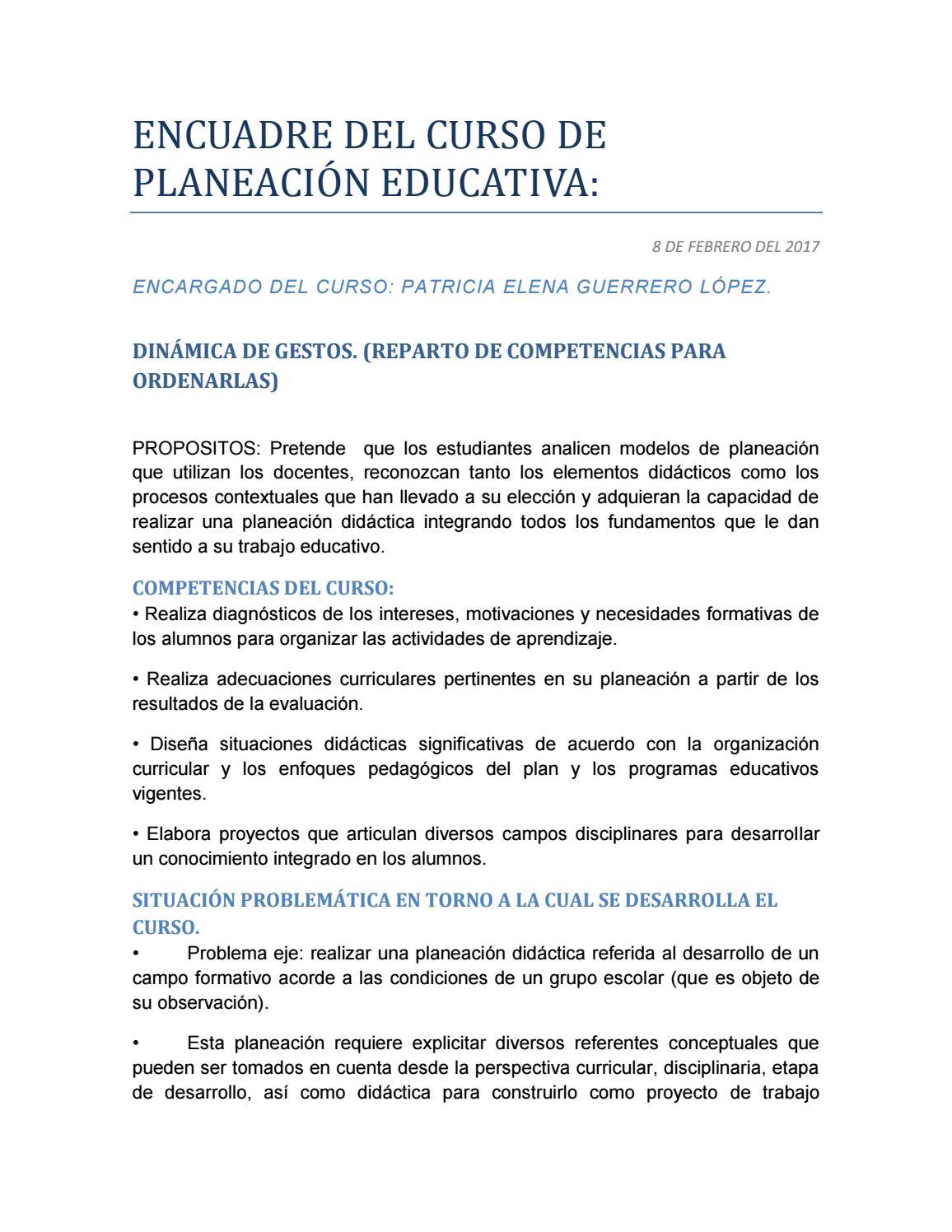 Encuadre del curso de planeación educativa by Diana Garcia - issuu