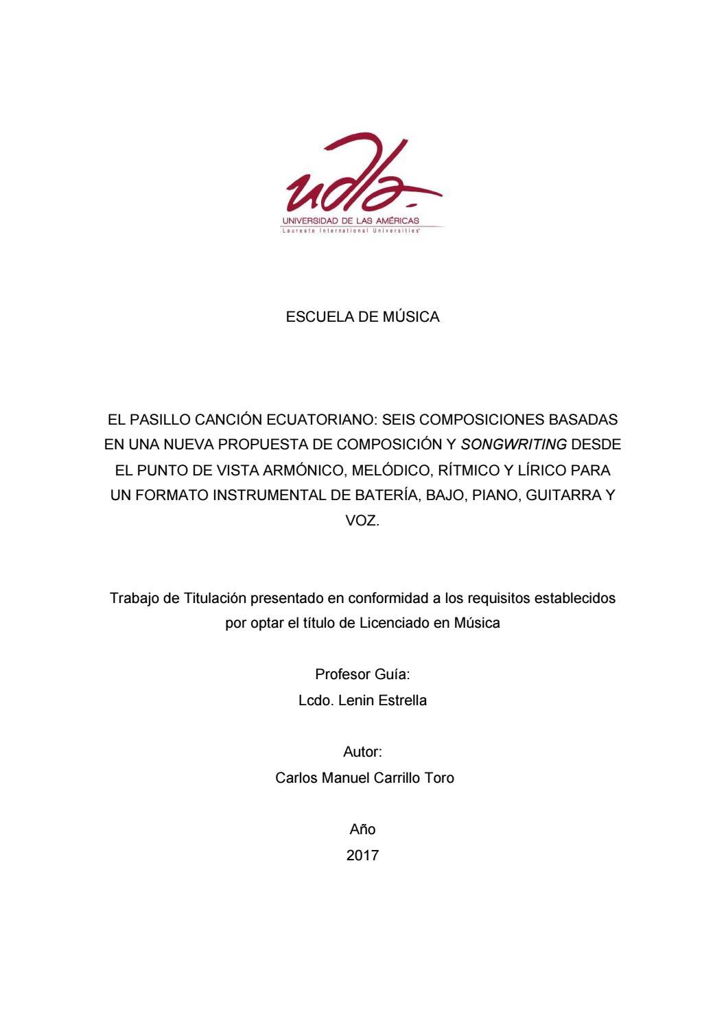 El Pasillo Canción Ecuatoriano Carlos Carrillo By Alumni