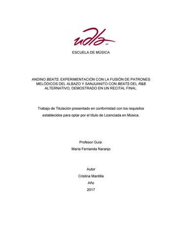 Andino Beats Cristina Mantilla By Alumni Escuela De Musica