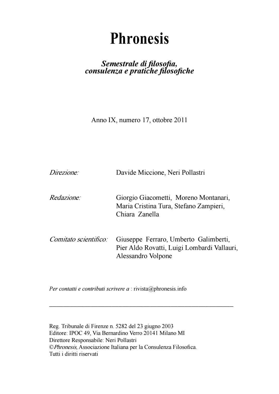Rivista Phronesis Anno IX Numero 17 Ottobre 2011 By Phronesis Issuu