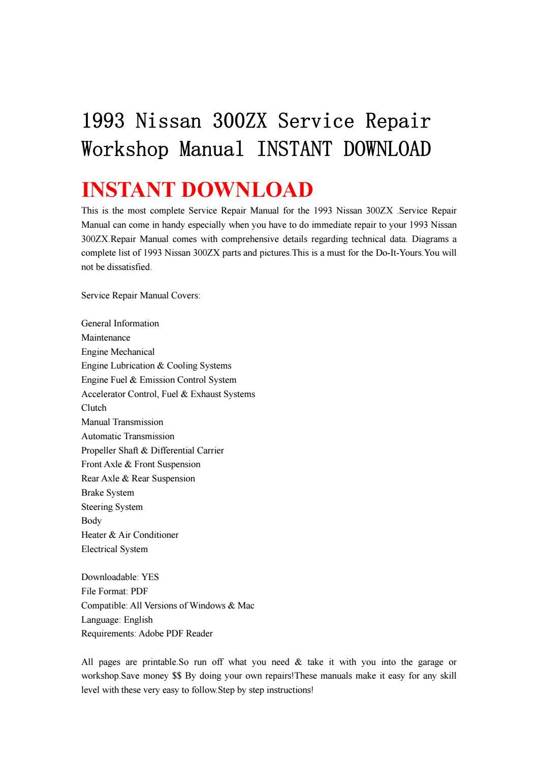 1993 nissan 300zx service repair workshop manual instant download