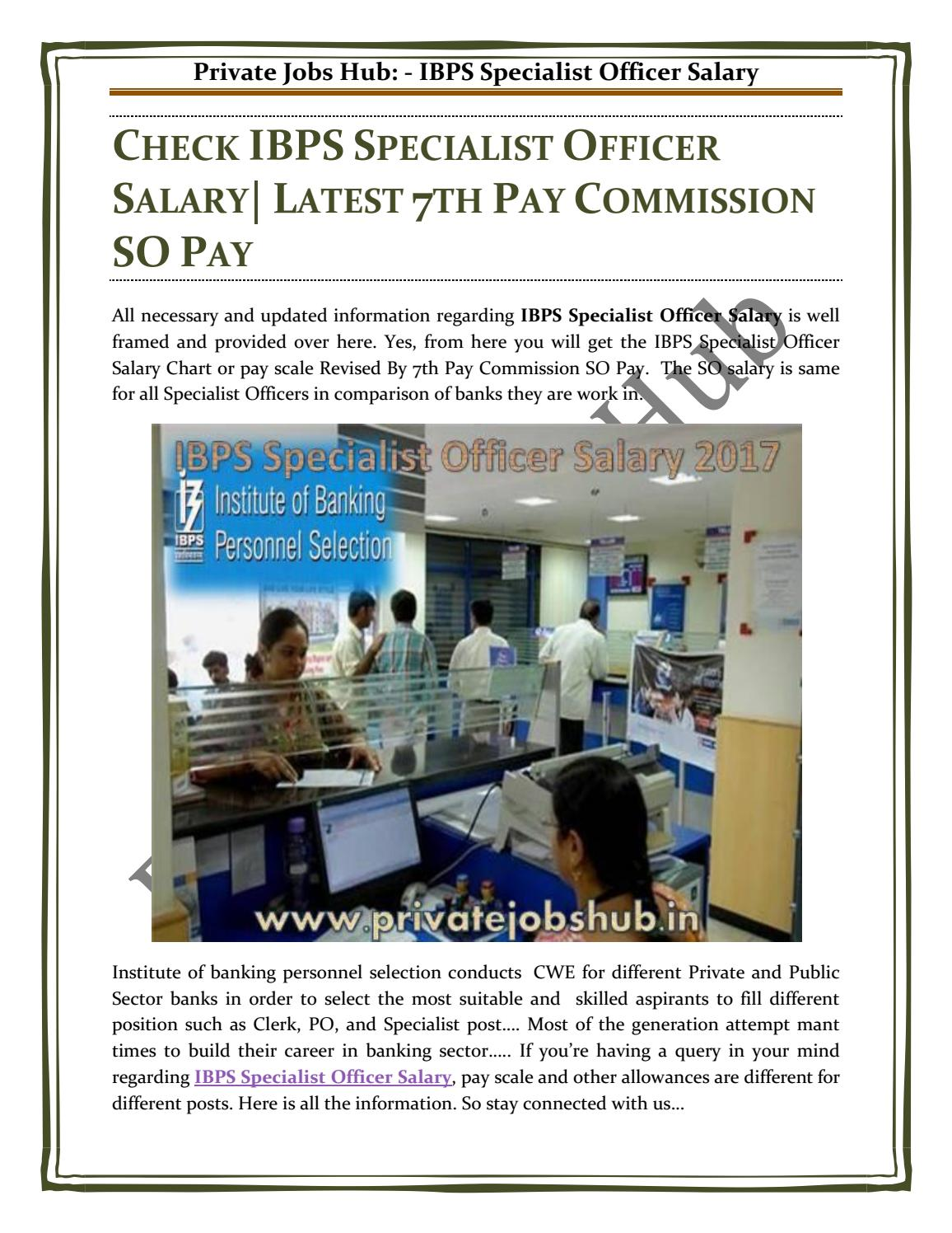 CHECK IBPS SPECIALIST OFFICER SALARY  LATEST 7TH PAY
