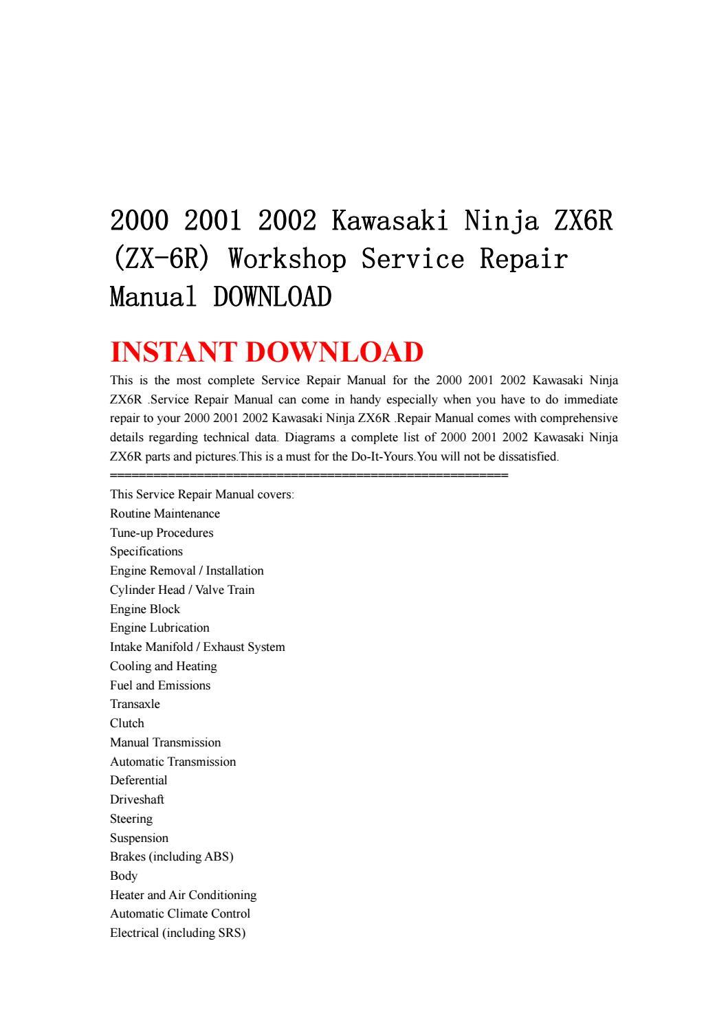 2000 2001 2002 kawasaki ninja zx6r (zx 6r) workshop service repair manual  download