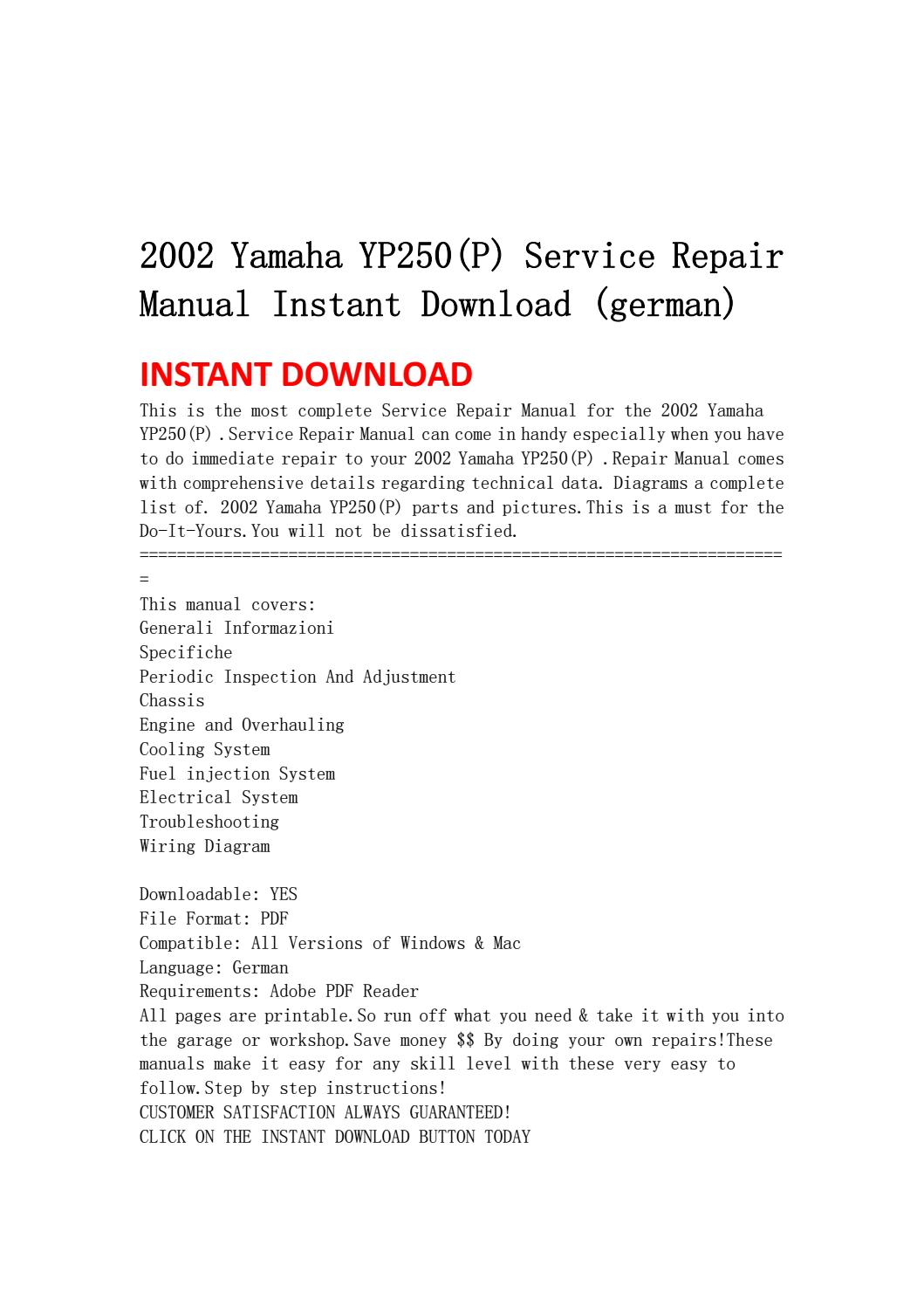 2002 yamaha yp250(p) service repair manual instant download ... on