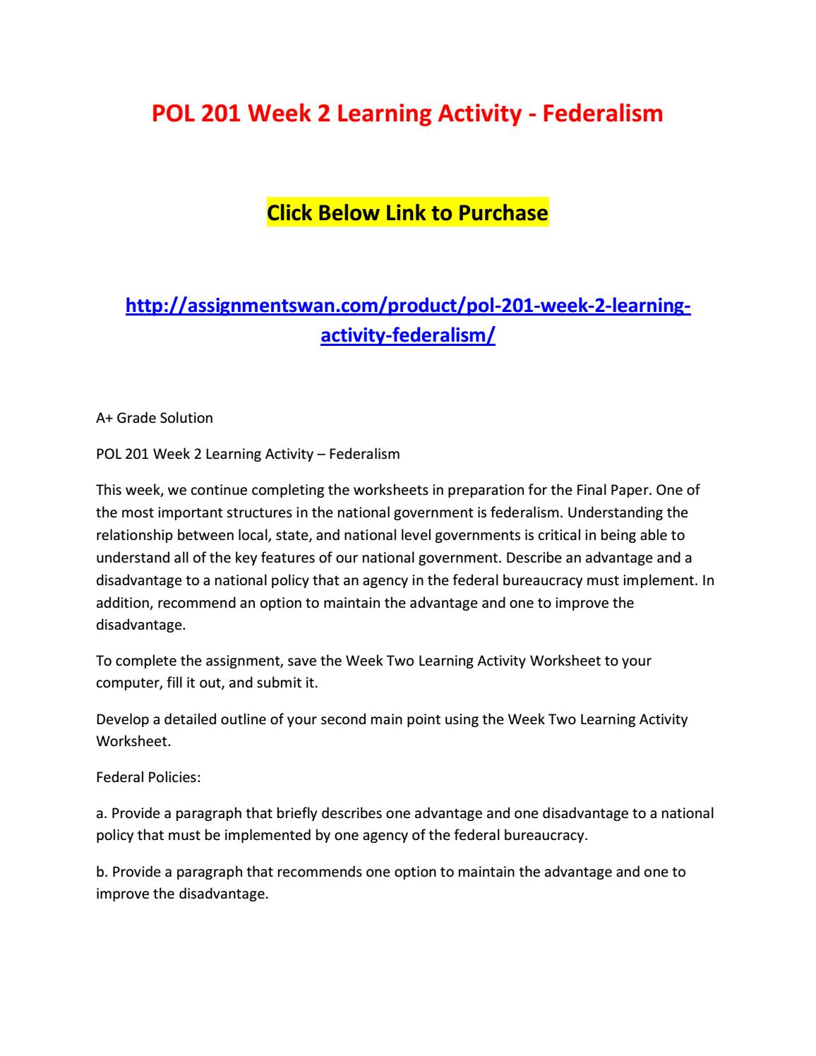 worksheet Fiscal Federalism Worksheet collection of worksheet federalism page 2 adriaticatoursrl pol 201 week learning activity by
