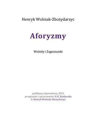 Wolniak Henryk Aforyzmy 2013 By Kkuzborska Redakcja
