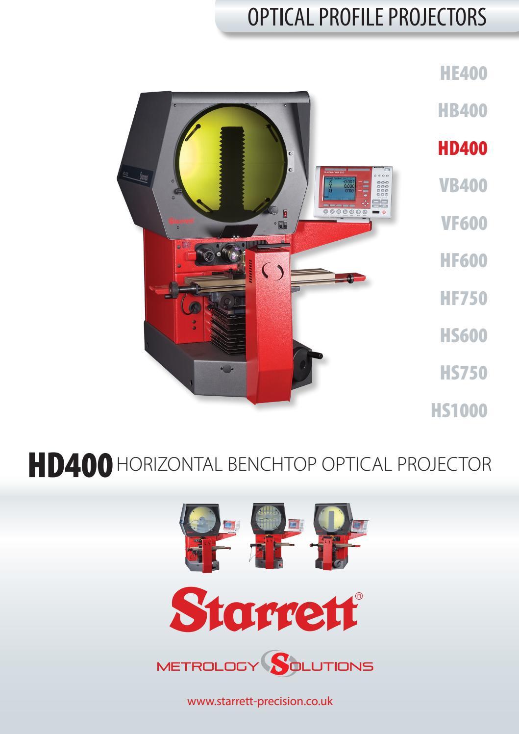 Starrett Hd400 Horizontal Benchtop Optical Profile