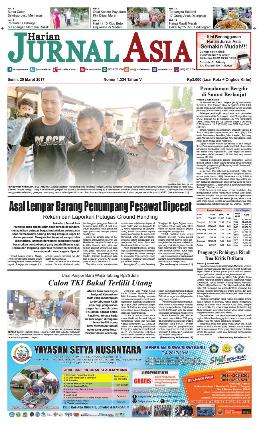 Harian Jurnal Asia Edisi Senin 20 Maret 2017 By Produk Ukm Bumn Kain Batik Eksklusif Lasem Manuk Medan Issuu