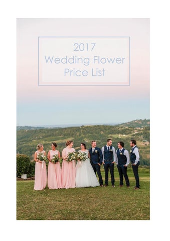 2017 Wedding Flower Price List