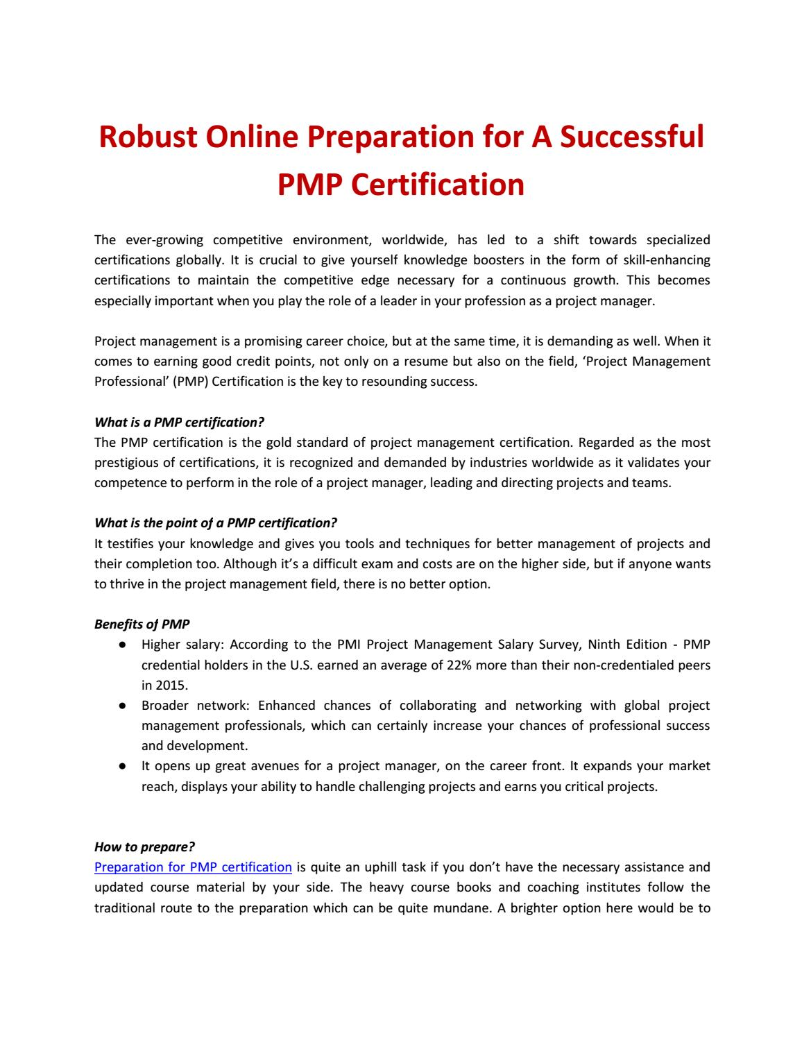 Robust Online Preparation For A Successful Pmp Certification By