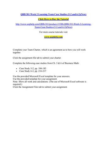 case study 6-2 qrb 501