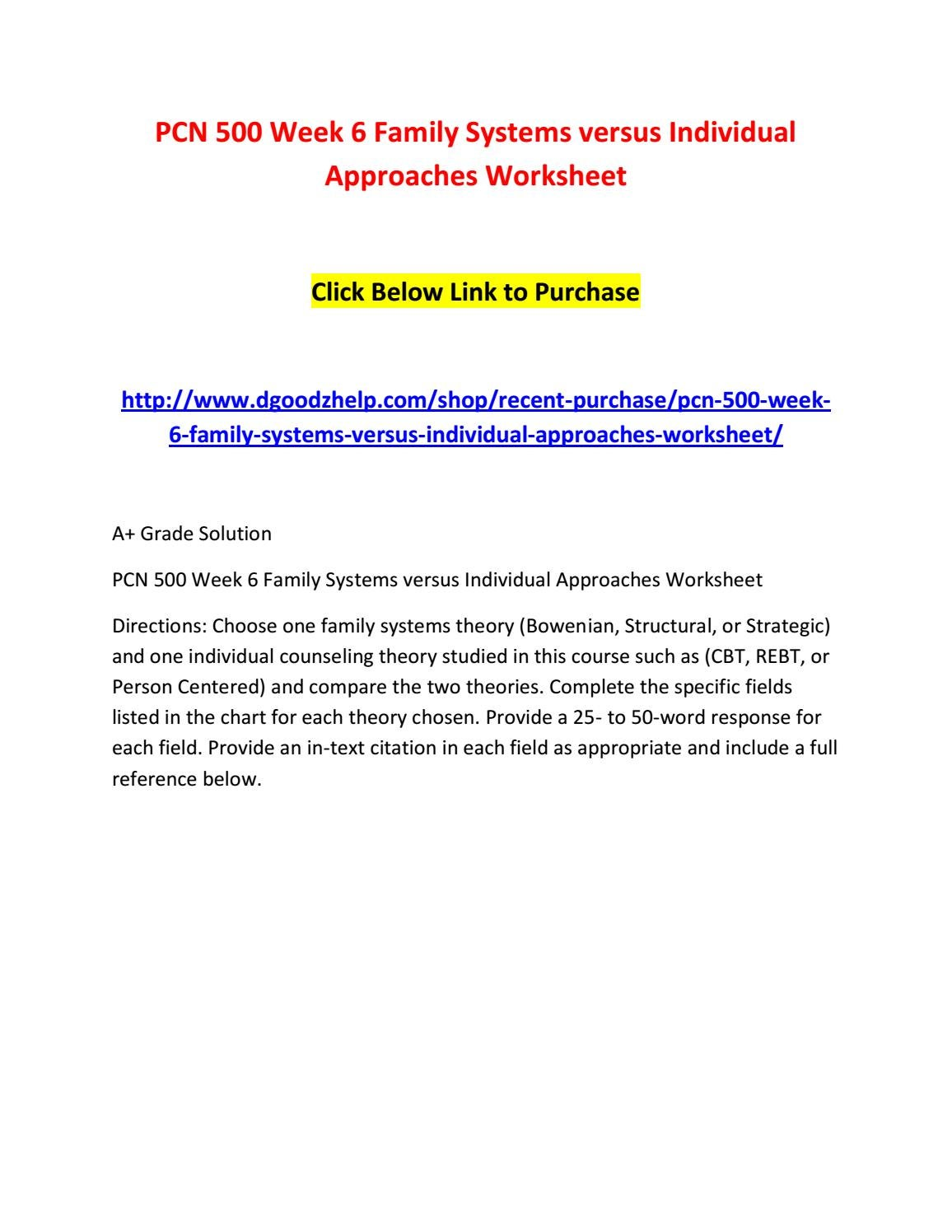 Pcn 500 week 6 family systems versus individual approaches – Rebt Worksheets
