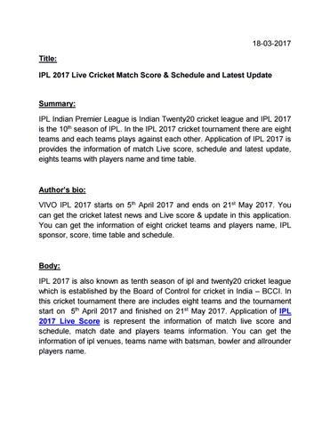 Ipl 2017 live cricket match score & schedule and latest