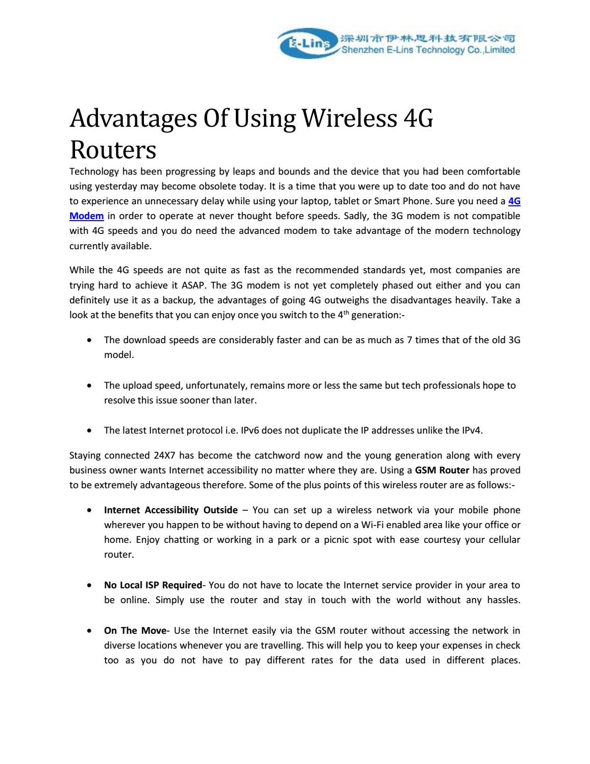 Read advantages of using wireless 4g routers by ELins