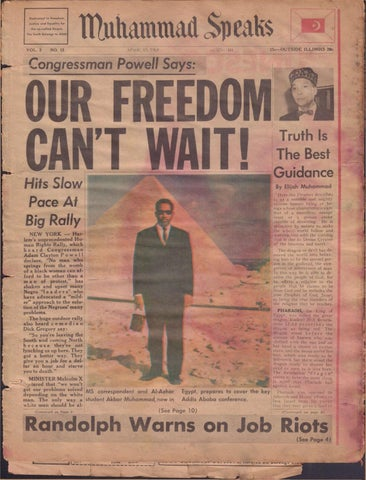 4 15 1963 Our Freedom Can T Wait By Muhammad Speaks Issuu