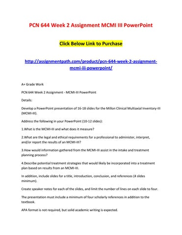 Pcn 644 Week 2 Assignment Mcmi Iii Powerpoint By