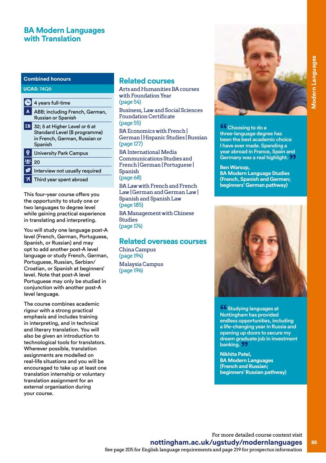 Undergraduate Prospectus 2018 By The University Of Nottingham Issuu