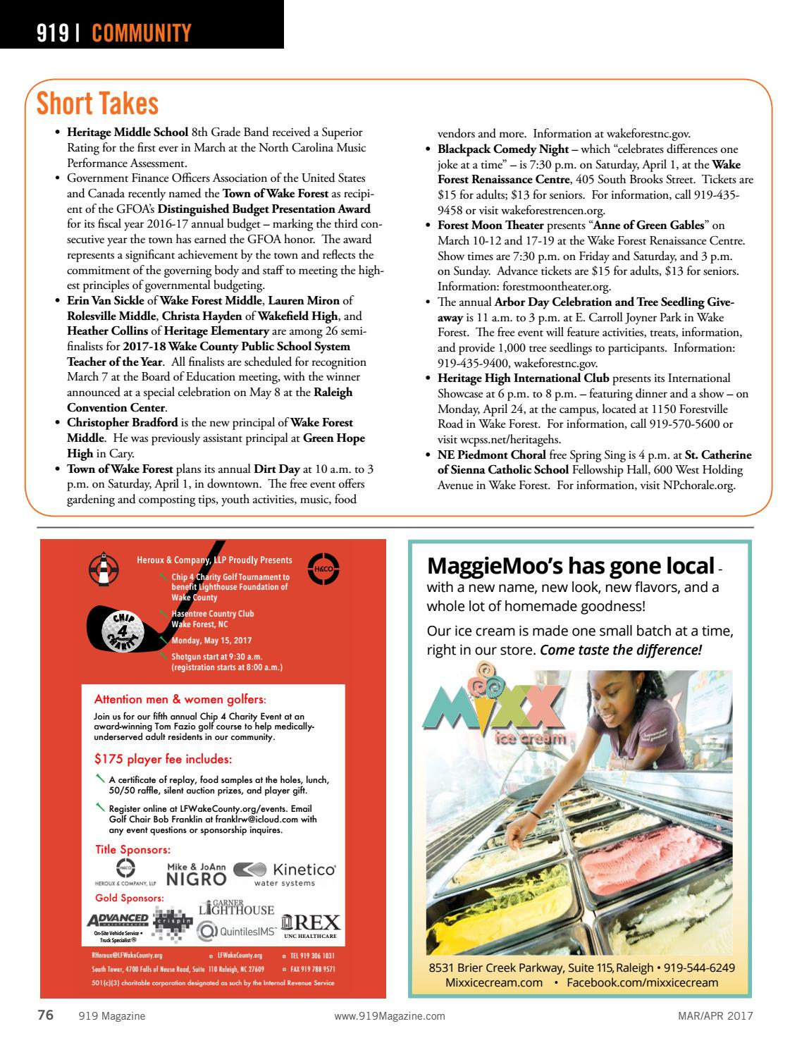 919 Magazine Mar/April 2017 Morrisville, North Cary, RTP by