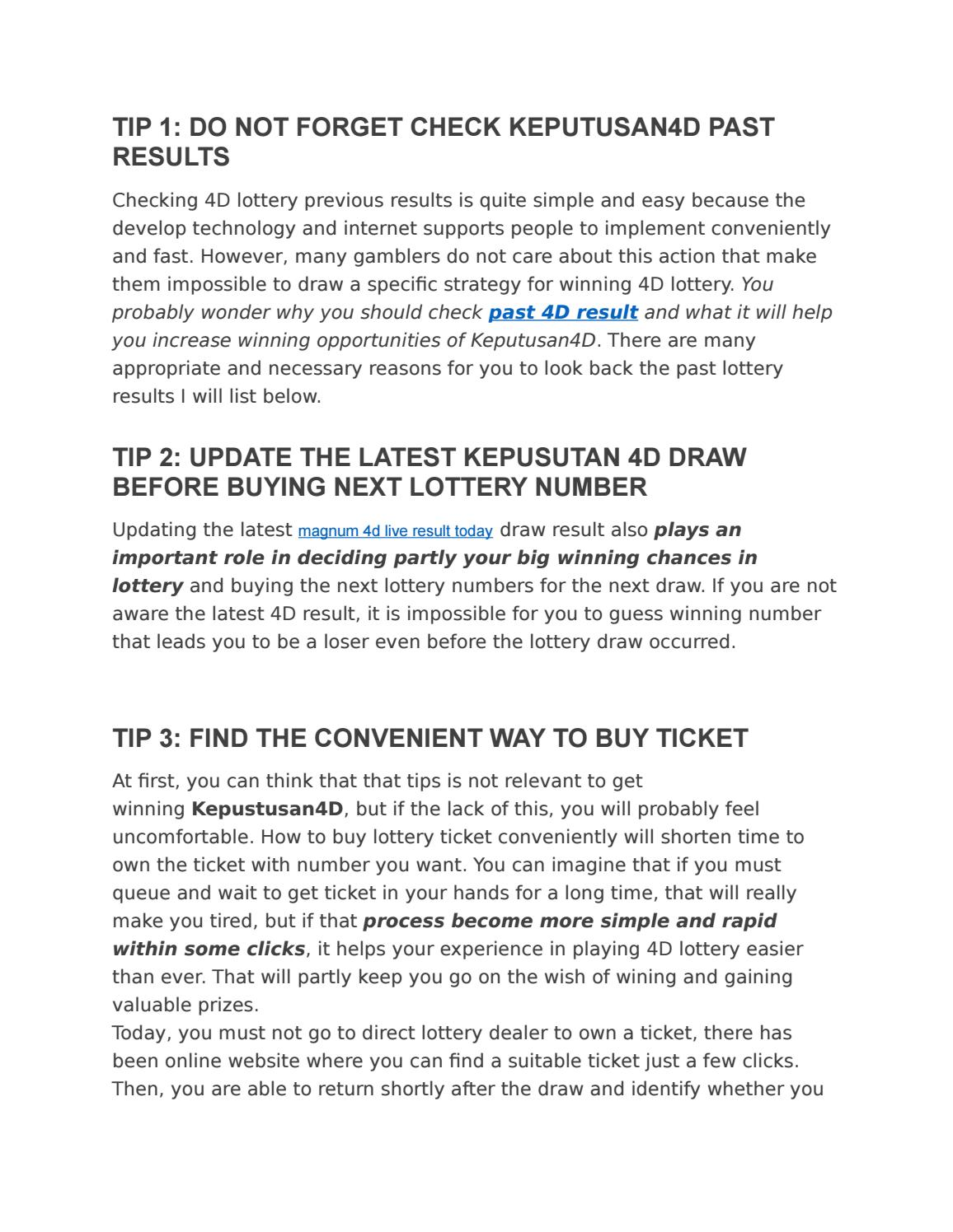 How to win toto 4d lottery by amy - issuu