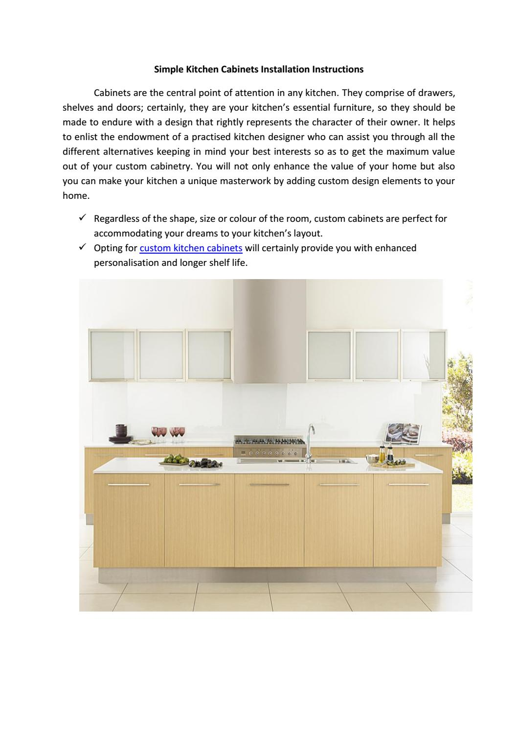 Simple Kitchen Cabinets Installation Instructions By Paradise Kitchens Issuu