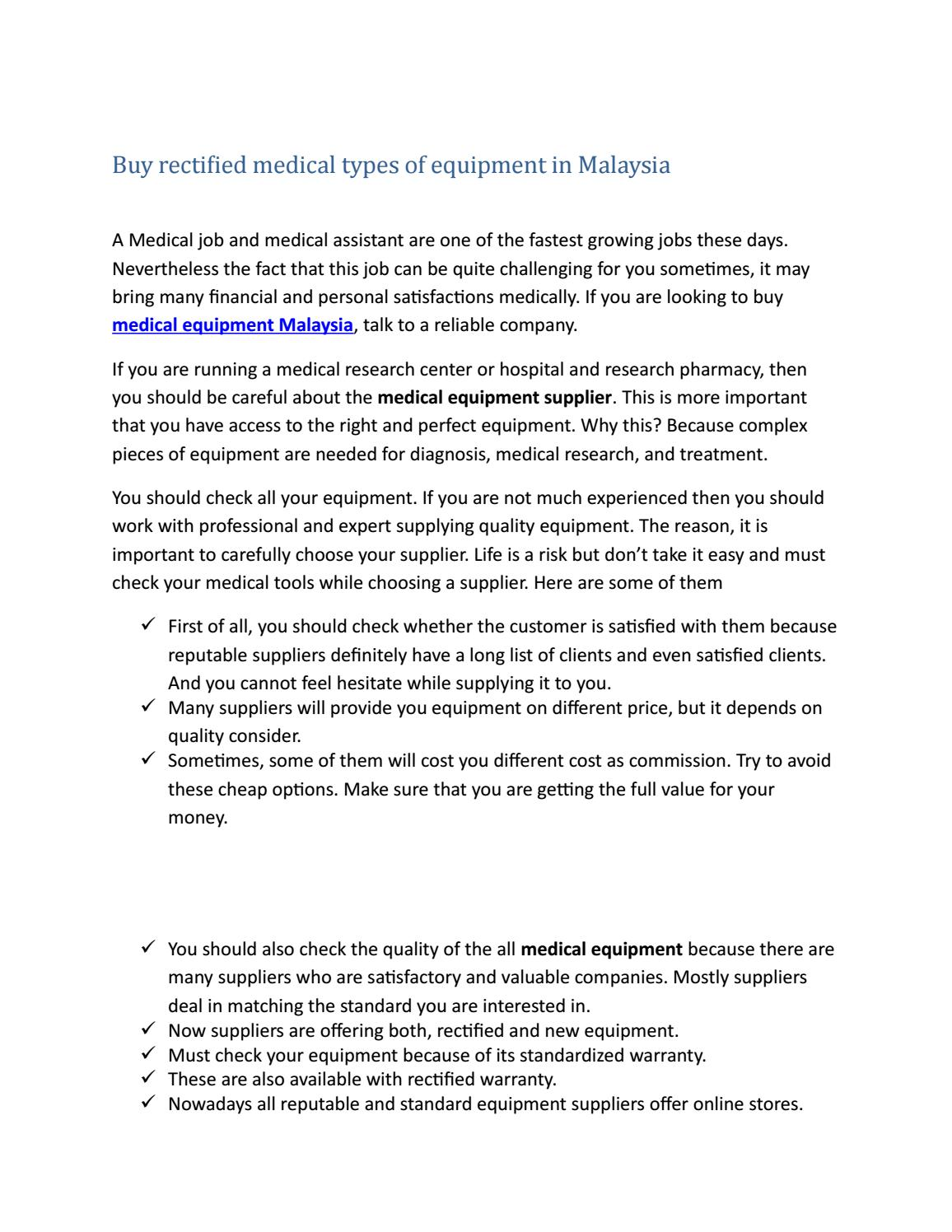 Medical equipment malaysia by GA 2 Medical - issuu