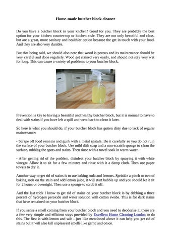 Home Made Butcher Block Cleaner By