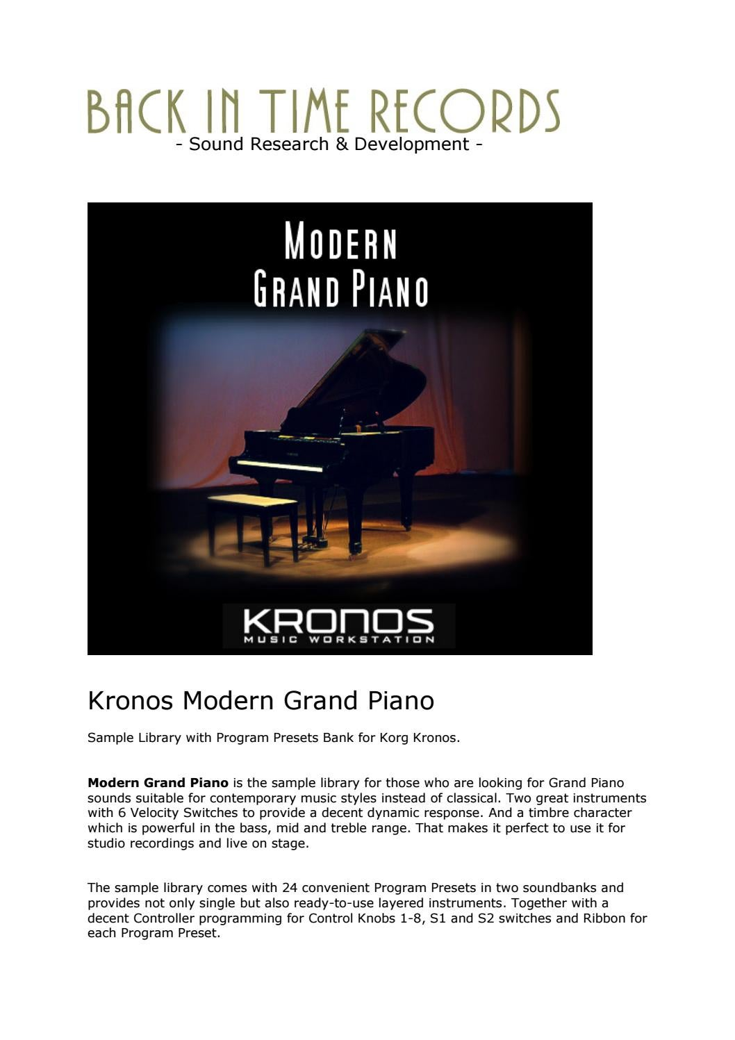 Kronos Modern Grand Piano Complete Content by Back In Time