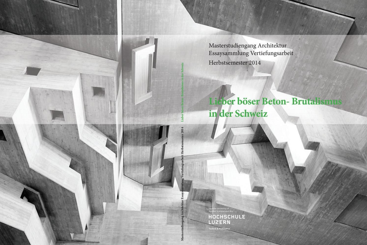 Lieber böser Beton - Brutalismus in der Schweiz by Master ...