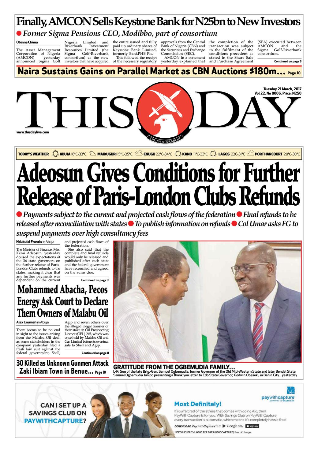 Tuesday 21st March 2017 By Thisday Newspapers Ltd Issuu