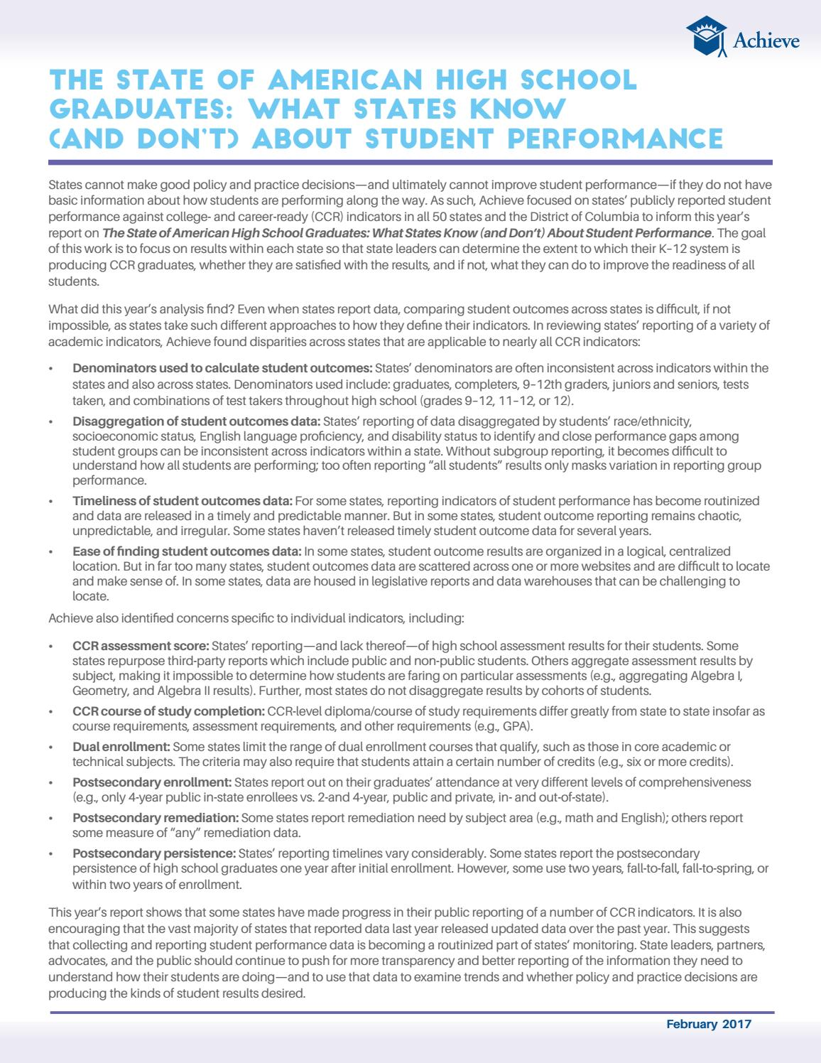 the state of american high school graduates: what states know (and don't)  about student performance