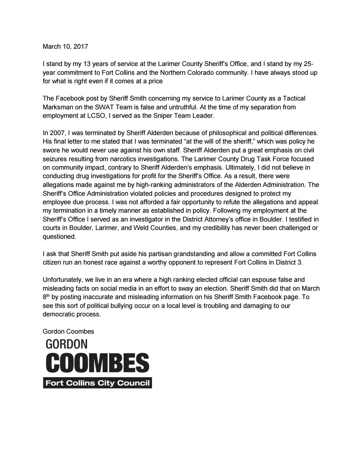 Coombes response to Smith Facebook post by The Coloradoan