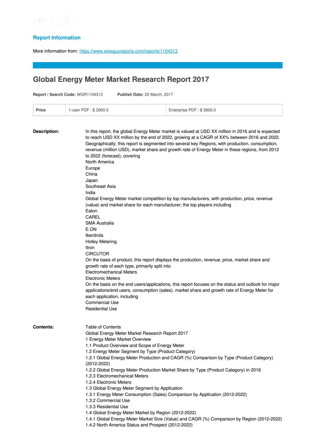 Global energy meter market research report 2017 by Naseer