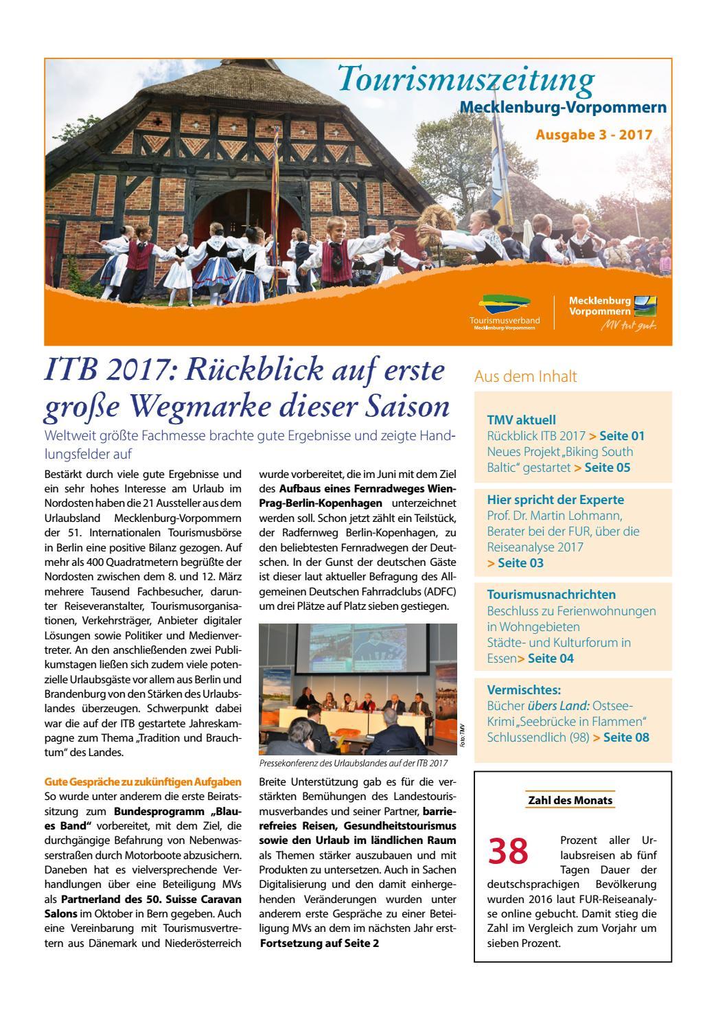 03/2017 Tourismuszeitung Mecklenburg-Vorpommern by Tourismusverband  Mecklenburg-Vorpommern e. V. - issuu