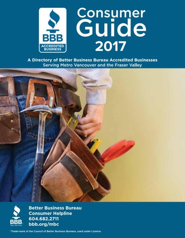 Better business bureau consumer guide 2017 by business in vancouver page 1 malvernweather Choice Image