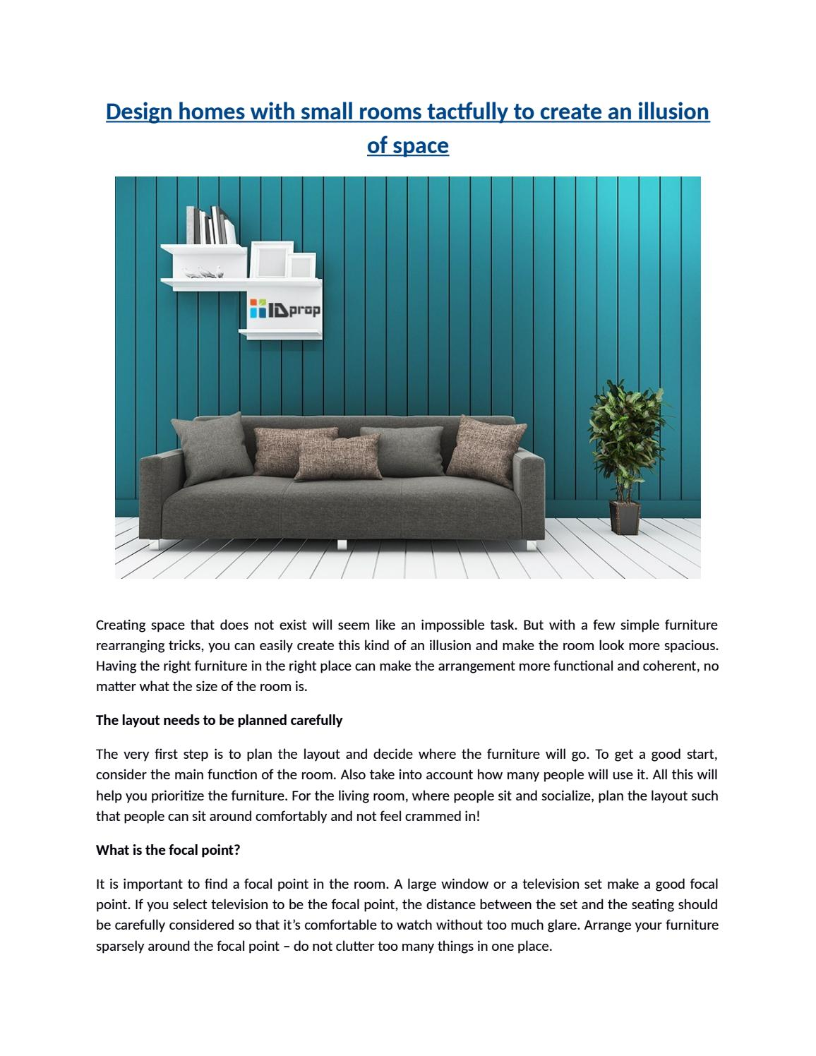 website to arrange furniture. Design Homes With Small Rooms Tactfully To Create An Illusion Of Space By Idpropdotcom - Issuu Website Arrange Furniture S