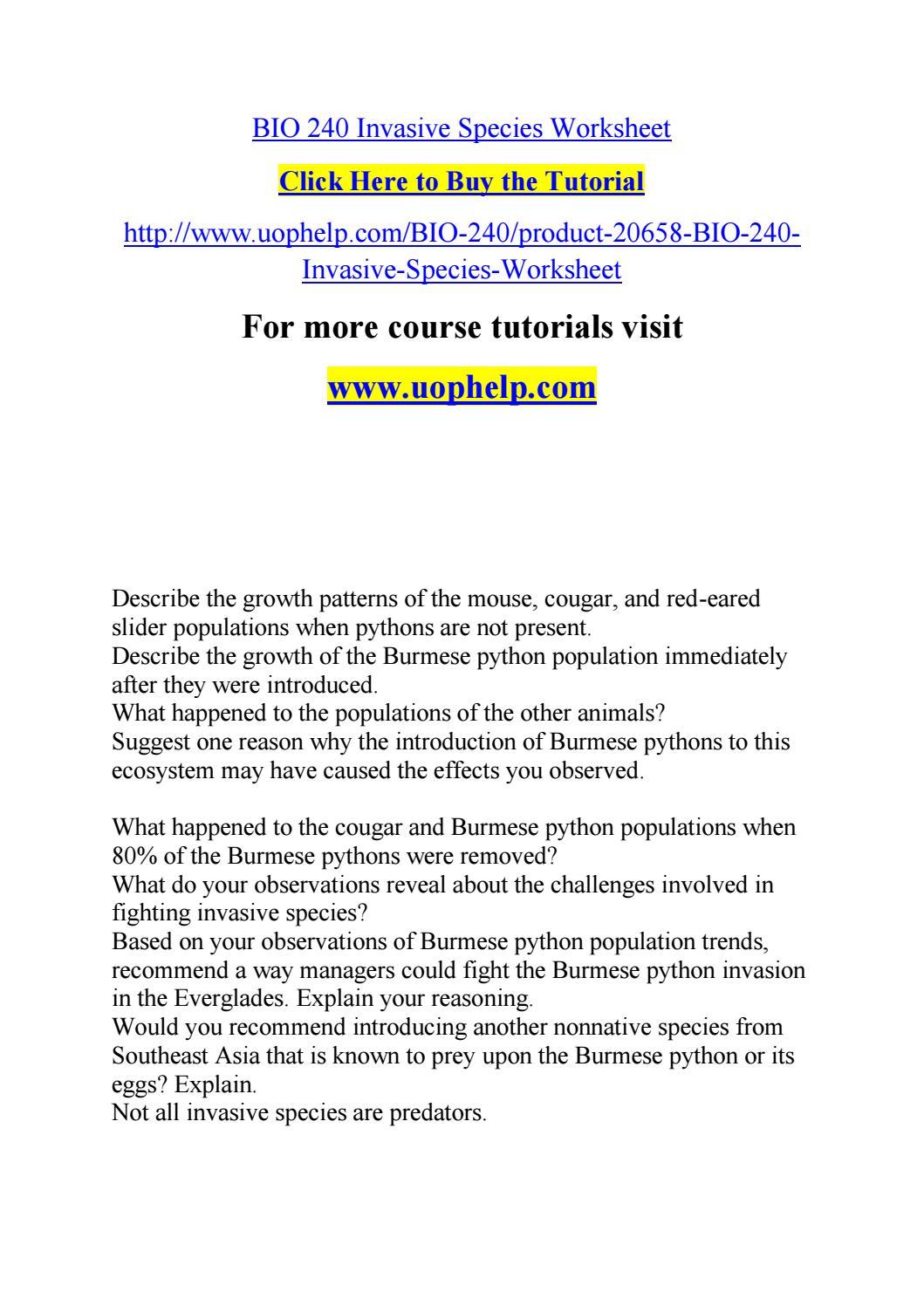 Bio 240 invasive species worksheet by jabbaree161   Issuu