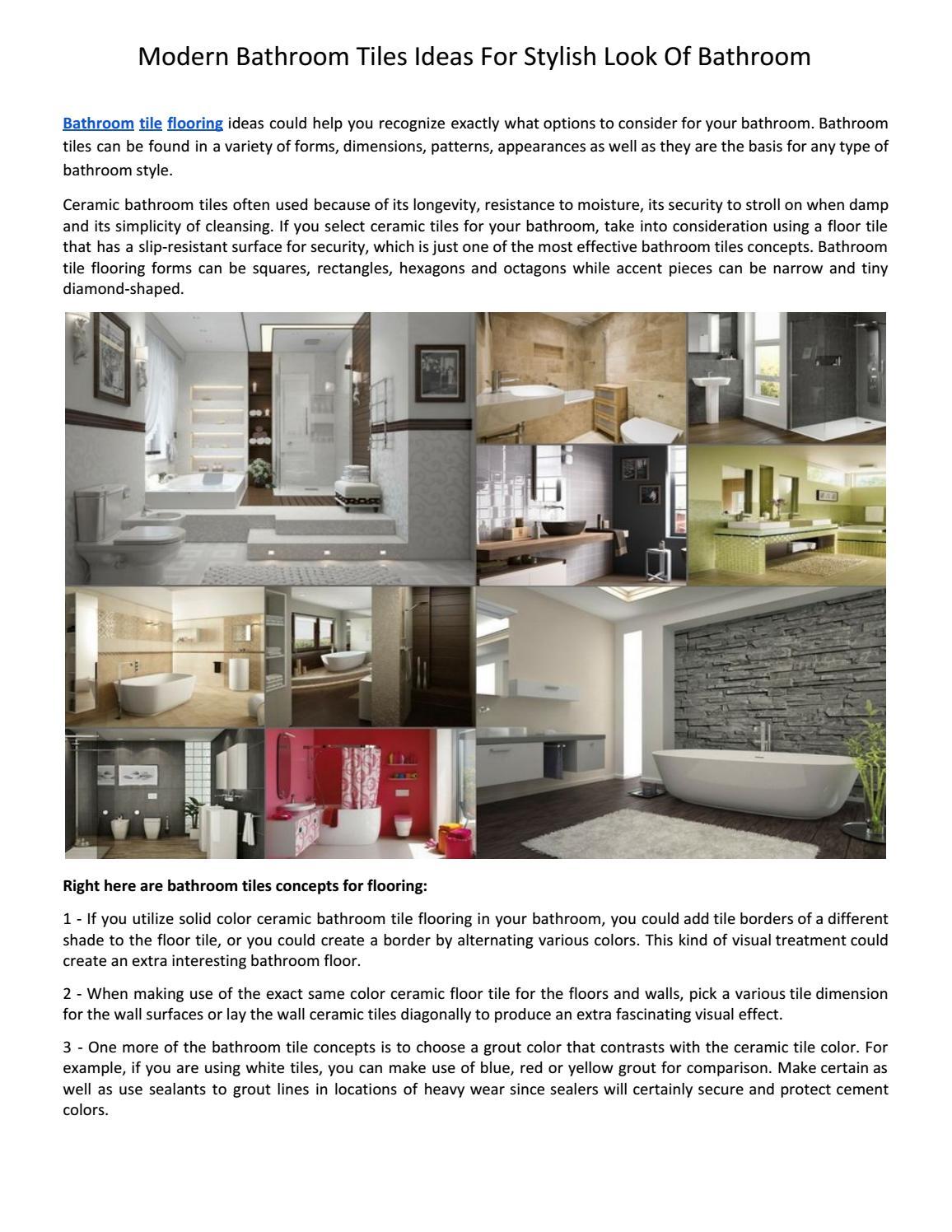Modern Bathroom Tiles Ideas For Stylish Look Of Bathroom By Sofia Tamm Issuu