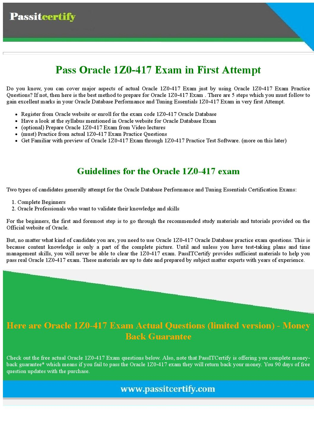1Z0-417 Oracle Database Performance and Tuning Essentials 2015 Exam