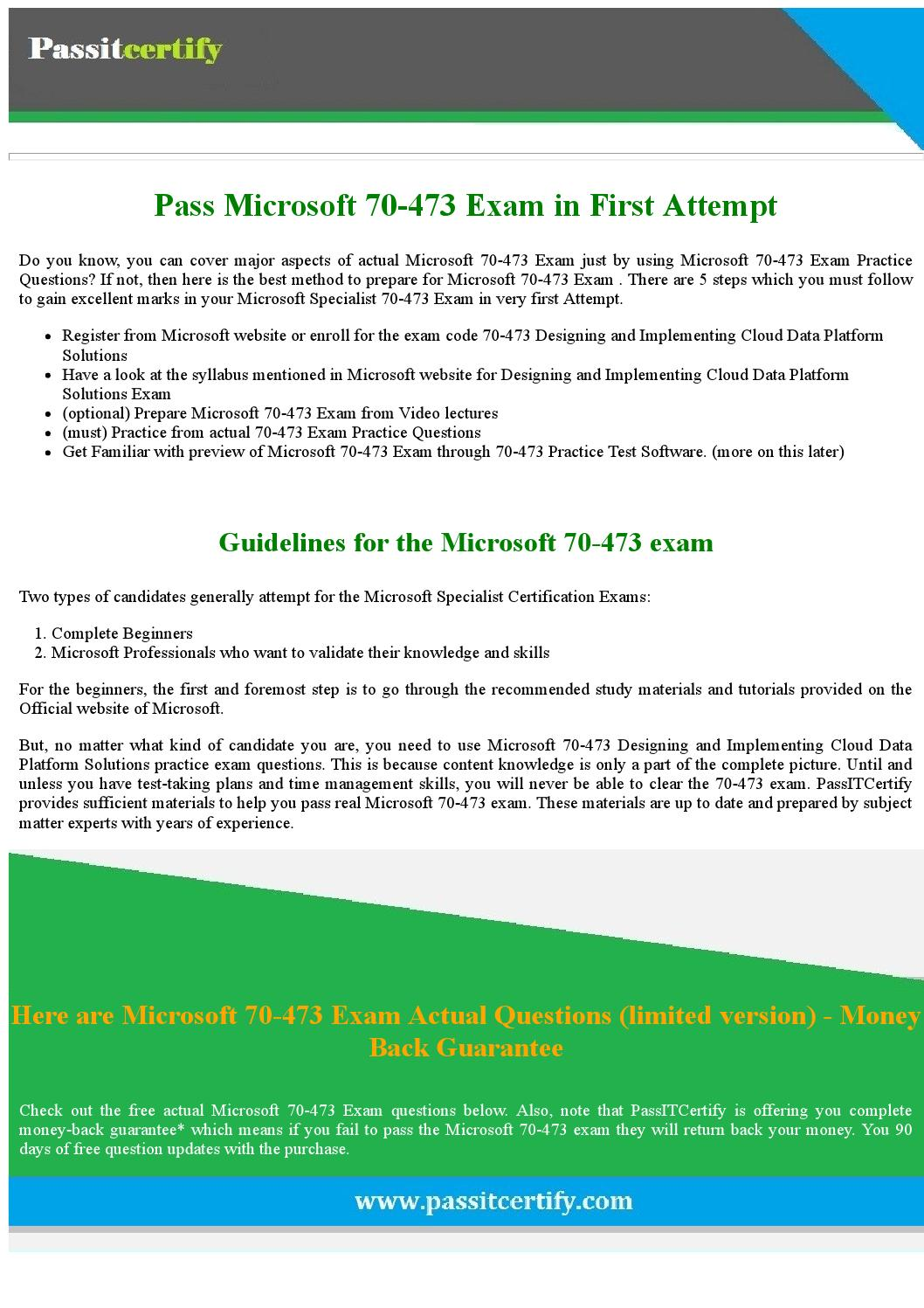 Afraid To Pass 70 473 Exam Try These 70 473 Exam Questions By
