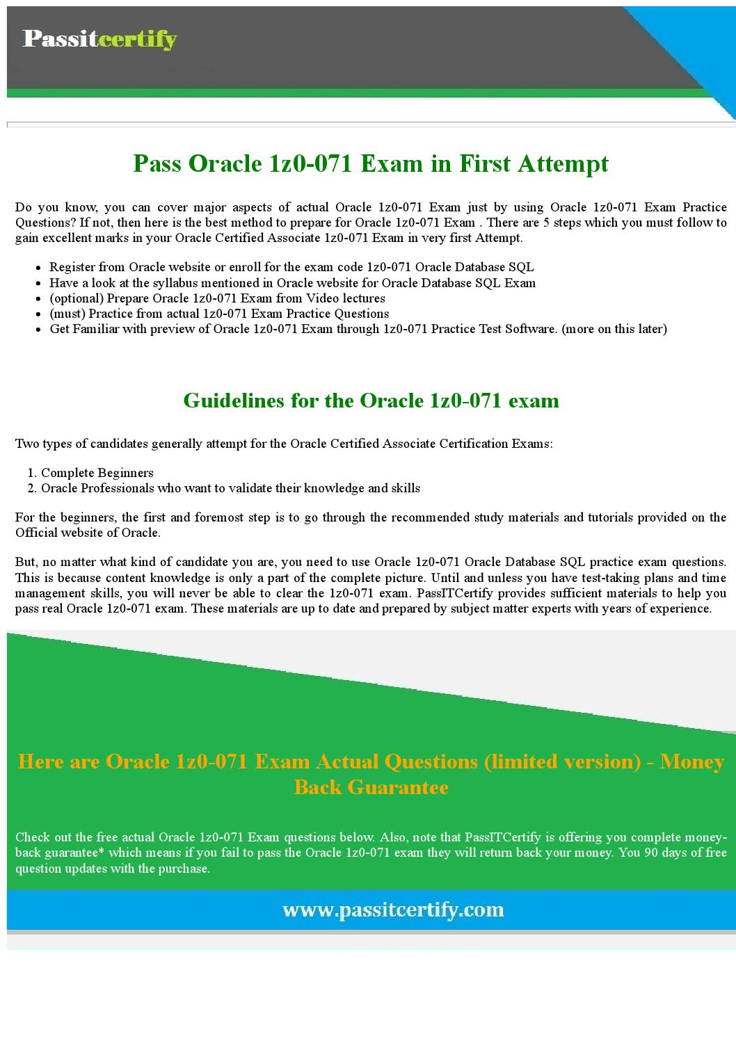Pass Oracle 1z0-071 Exam in 1st Attempt by Michael J