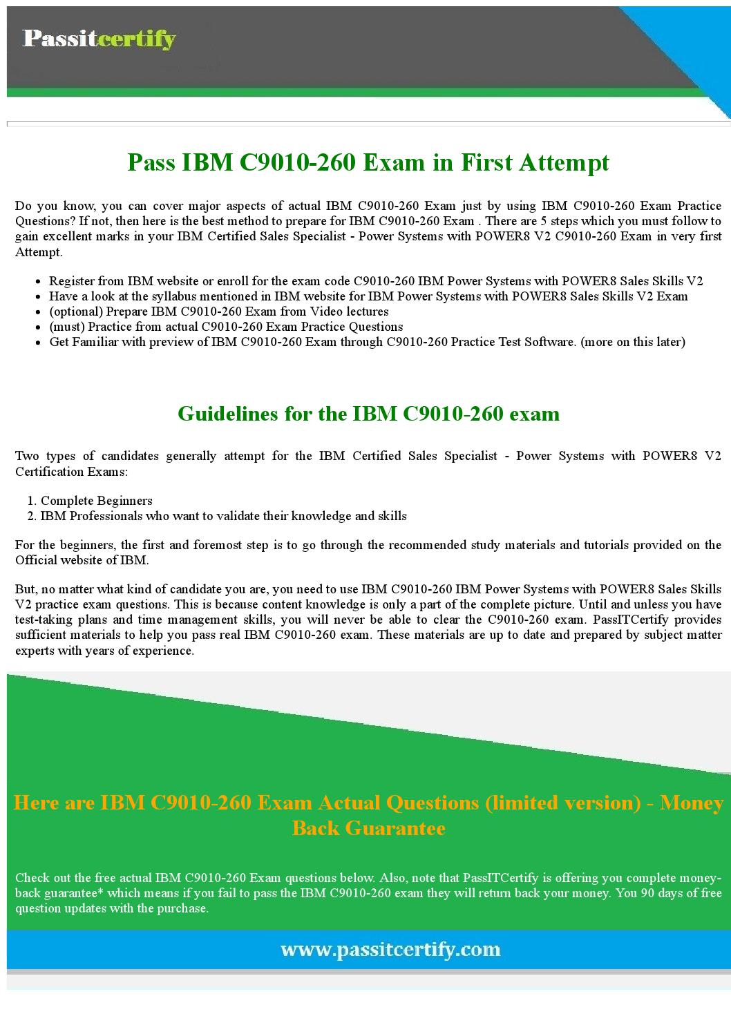 Download Free C9010-260 IBM Power Systems with POWER8 Sales