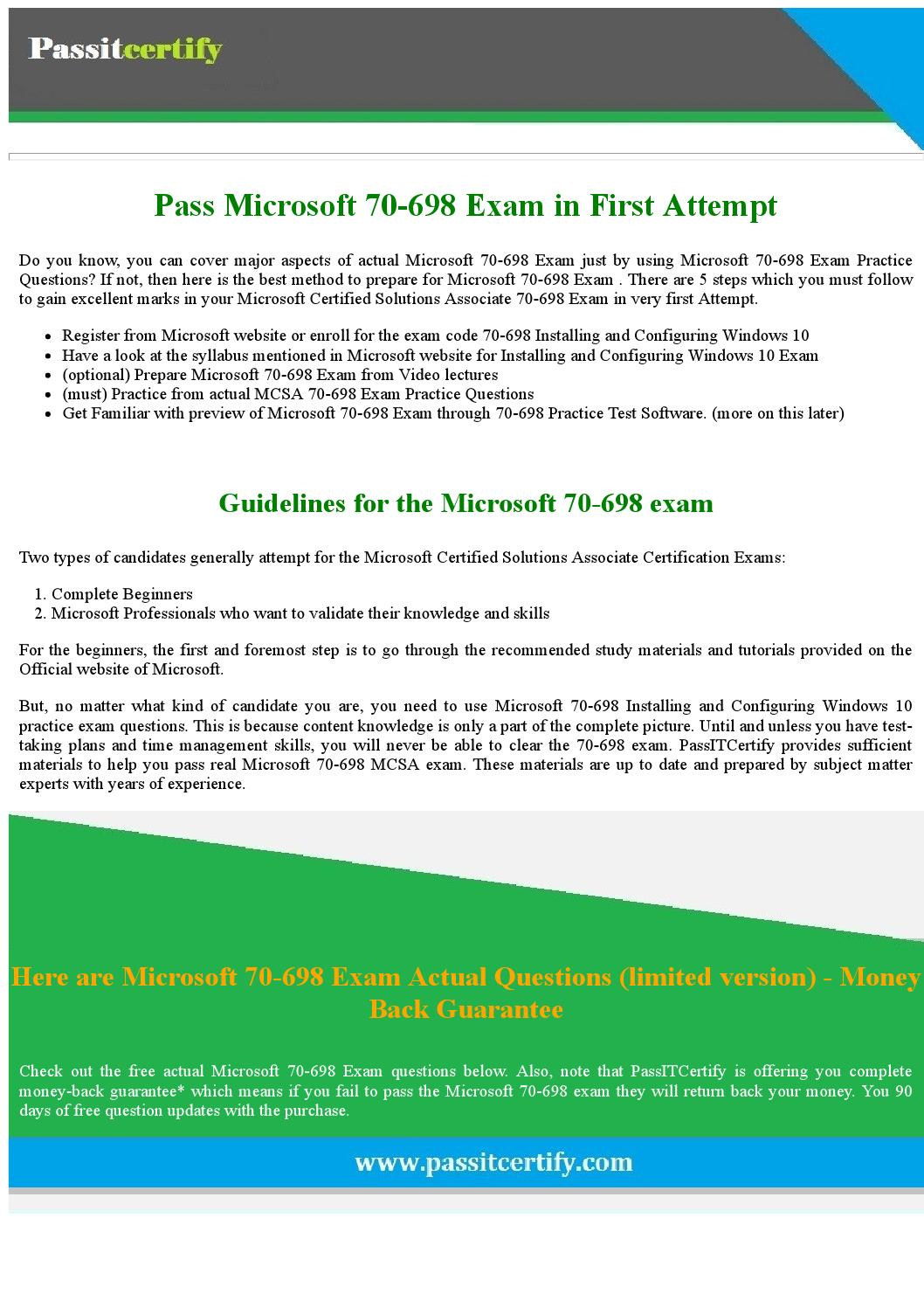 Download Free 70 698 Installing And Configuring Windows 10 Pdf Demo