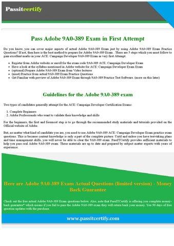 9A0-389 Adobe Campaign Developer ExamDumps Questions PDF by