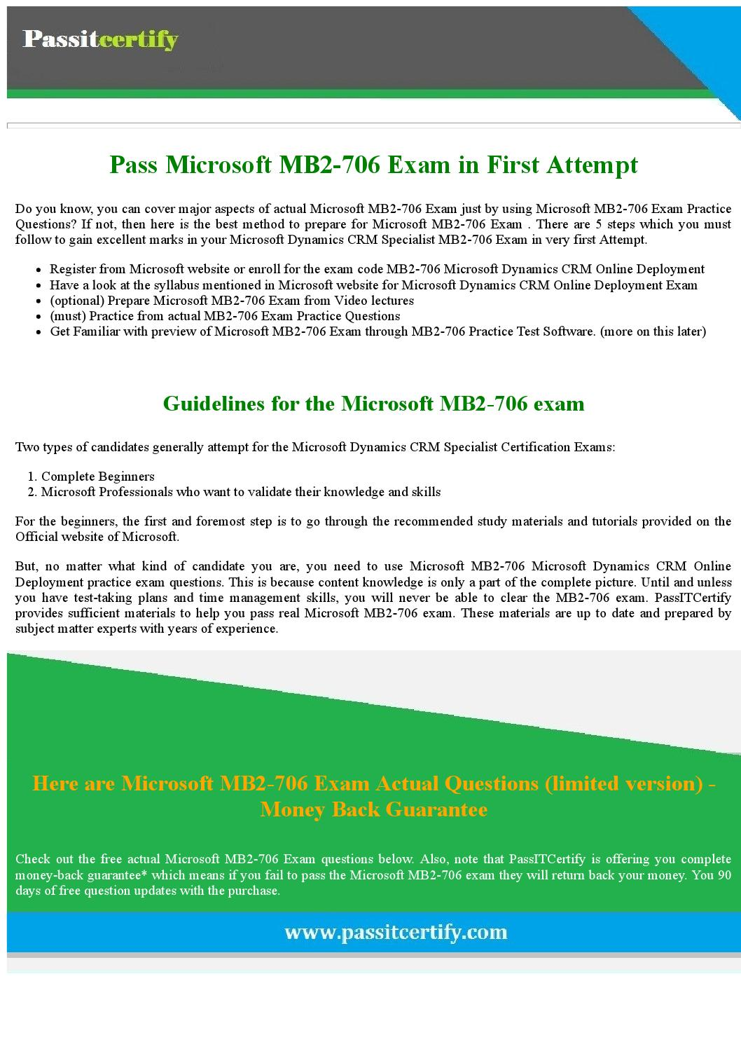 Pass Microsoft Specialist MB2-706 Exam By PassItCertify