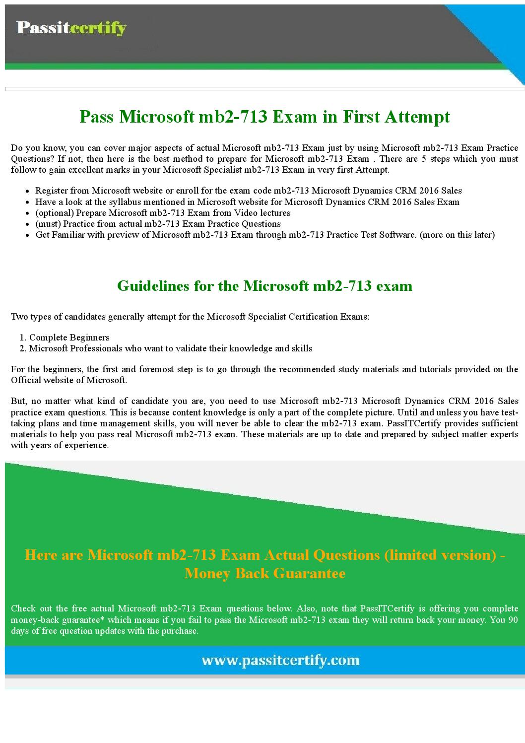 Get Latest Microsoft Specialist Mb2 713 Exam Questions And Answers