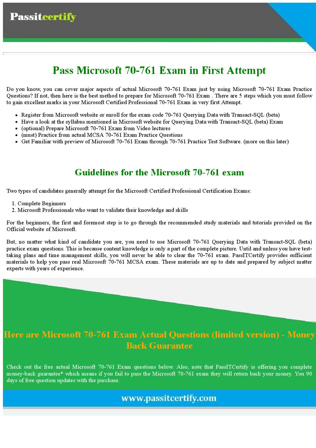 Updated 2017 microsoft 70 761 exam dumps for 100 success by updated 2017 microsoft 70 761 exam dumps for 100 success by michael j koester issuu xflitez Images